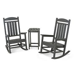 POLYWOOD® 3 pc Presidential Slate Gray Rocking Chair & Table Set - Outdoor