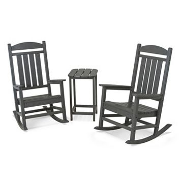 POLYWOOD® 3-pc. Presidential Slate Gray Rocking Chair & Table Set - Outdoor