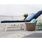 POLYWOOD® 5 pc Nautical Chaise Chair & Table Set - Outdoor