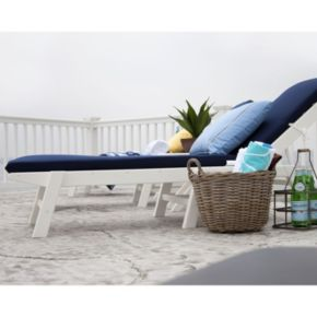 POLYWOOD 5-pc. Nautical Chaise Chair and Table Set - Outdoor