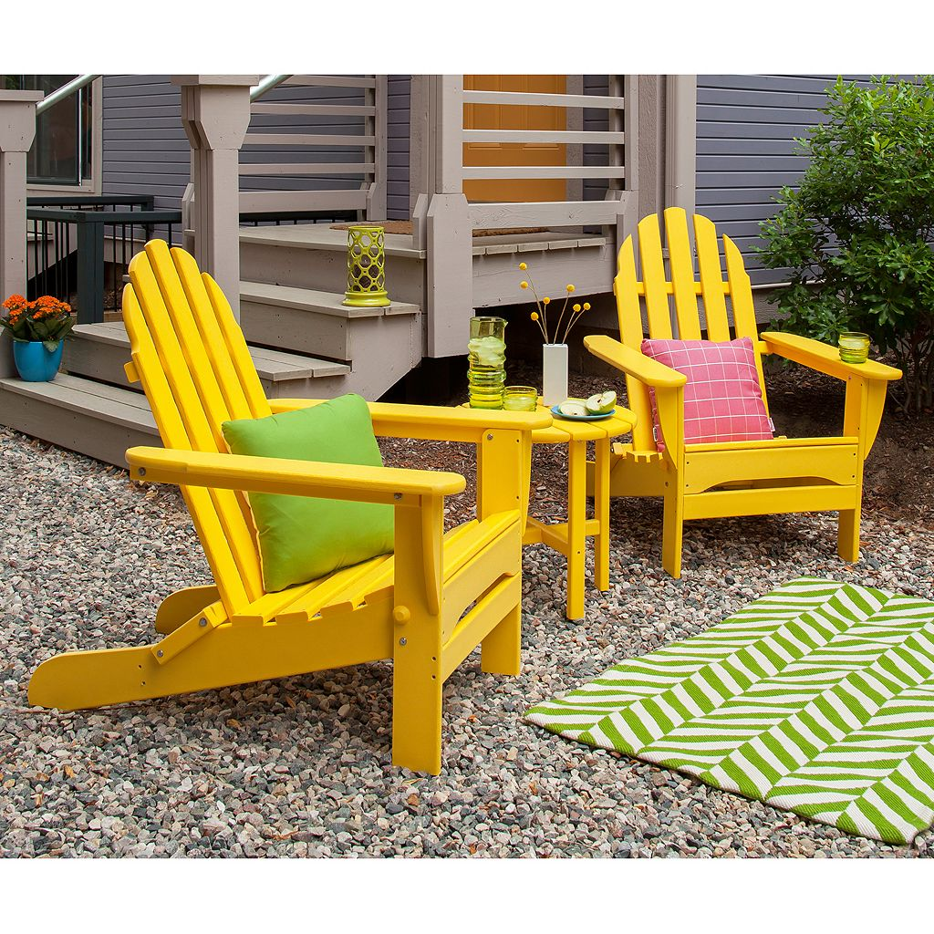 POLYWOOD 3-pc. Classic Folding Adirondack Chair and Table Set - Outdoor