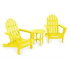 POLYWOOD® 3 pc Classic Folding Adirondack Chair & Table Set - Outdoor