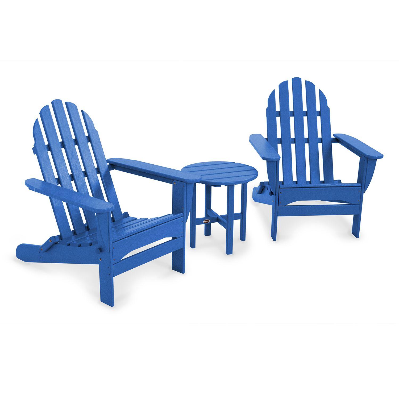Beautiful POLYWOOD® 3 Pc. Classic Folding Adirondack Chair U0026 Table Set   Outdoor