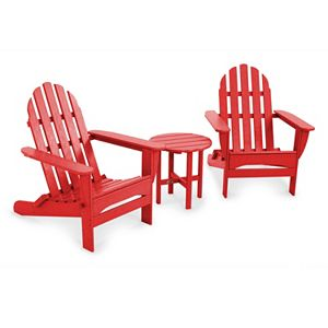 polywood 3 pc classic folding adirondack chair table set outdoor