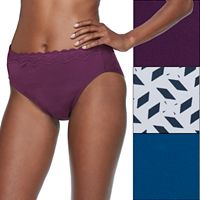 Olga Without a Stitch 3-pk. Lace-Trim Microfiber Hi-Cut Briefs 23067J - Women's