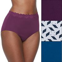 Olga Without a Stitch 3-pk. Lace-Trim Microfiber Briefs 23367J - Women's