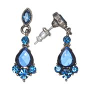 1928 Simulated Sapphire and Jet Drop Earrings