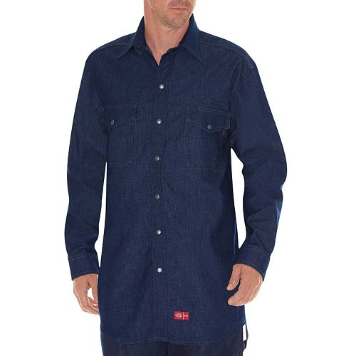 Men's Dickies Flame-Resistant Snap-Down Denim Shirt