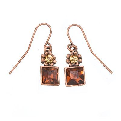 1928 Simulated Smoky Topaz Wire Earrings