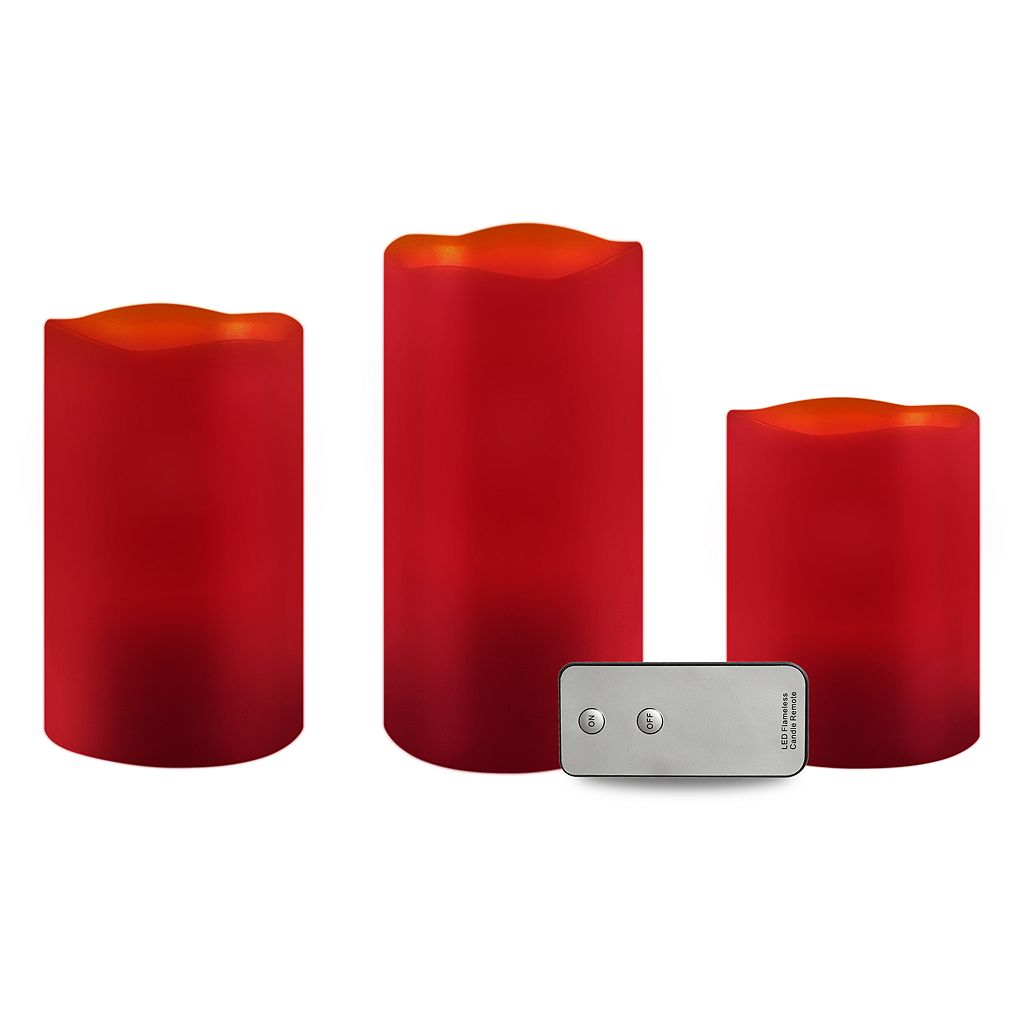 3-pc LED Red Flameless Candles Set With Remote