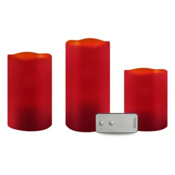 Apothecary & Company 3-pc. Red LED Candle Set with Remote