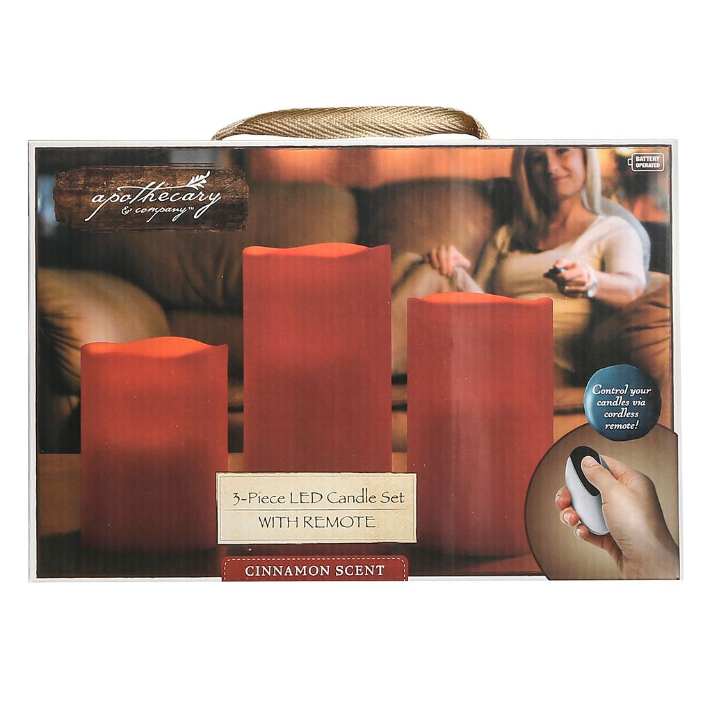 LED Red Flameless Candles and Remote 4-piece Set