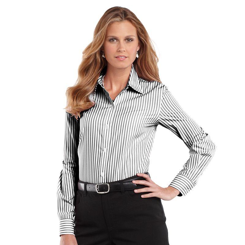 Chaps no iron broadcloth shirt women 39 s plus for No iron white shirt womens