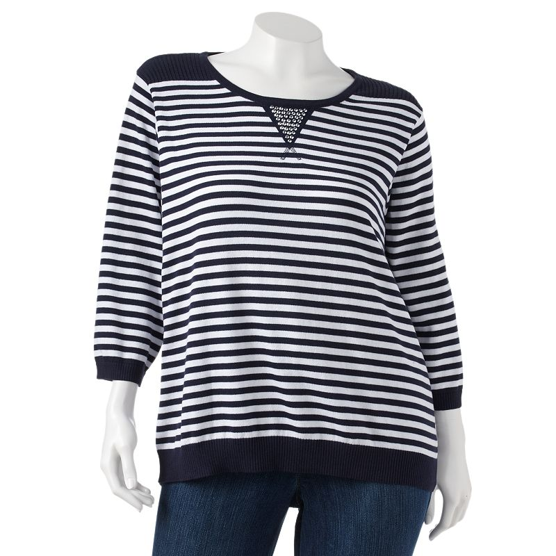Cathy Daniels Embellished Striped Sweater - Women's Plus