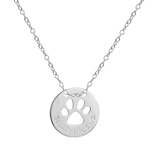 """Silver-Plated """"Best Friend"""" Paw Print Pendant"""