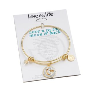 love this life Gold Tone Silver-Plated and Gold Tone Stainless Steel Crystal Charm Bangle Bracelet