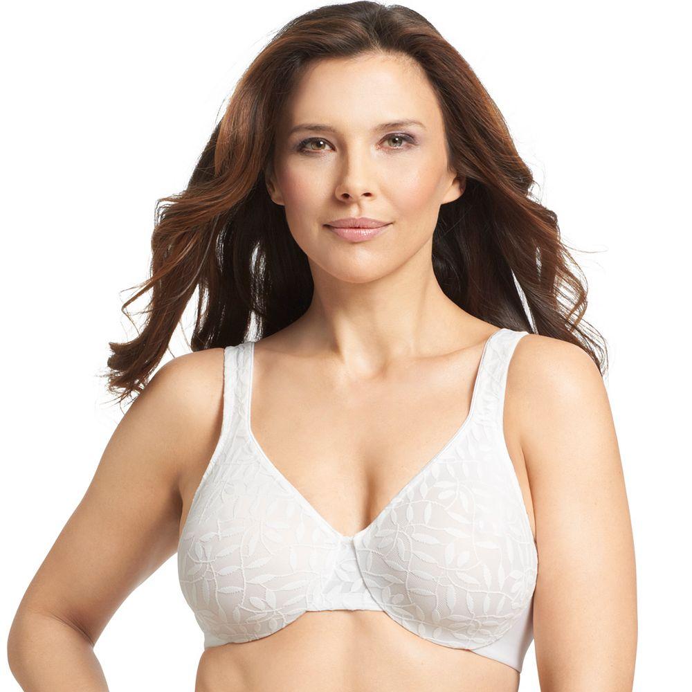 Olga® by Warner's® Bra: Sheer Leaves Lace Full-Figure Full-Coverage Minimizer Bra 35519 - Women's