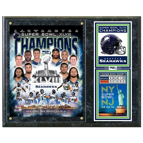 "Seattle Seahawks Super Bowl XLVIII Champions 12"" x 15"" Plaque"