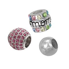Individuality Beads Sterling Silver Crystal Mom Bead Set