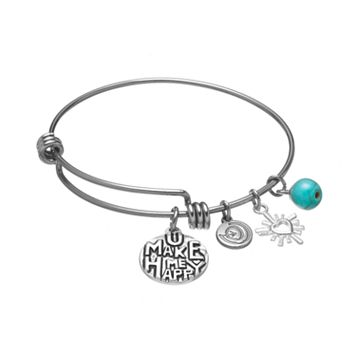 love this life Stainless Steel & Silver-Plated Simulated Turquoise