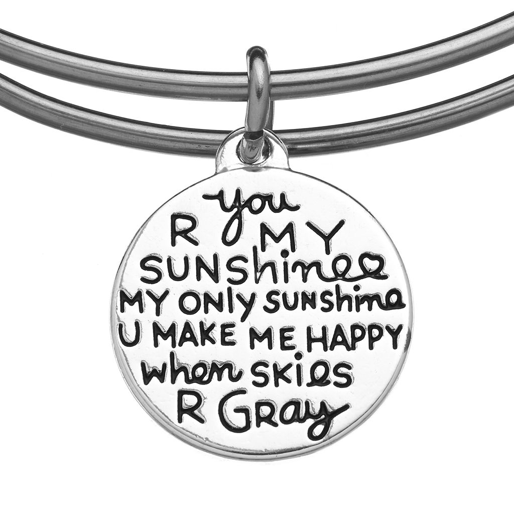 love this life Stainless Steel and Silver-Plated Simulated Turquoise ''You R My Sunshine'' and Heart Sun Charm Bangle Bracelet