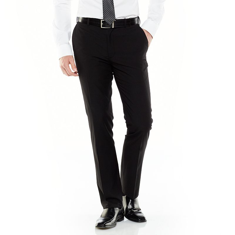 Adolfo Slim-Fit Flat-Front Black Suit Pants - Men