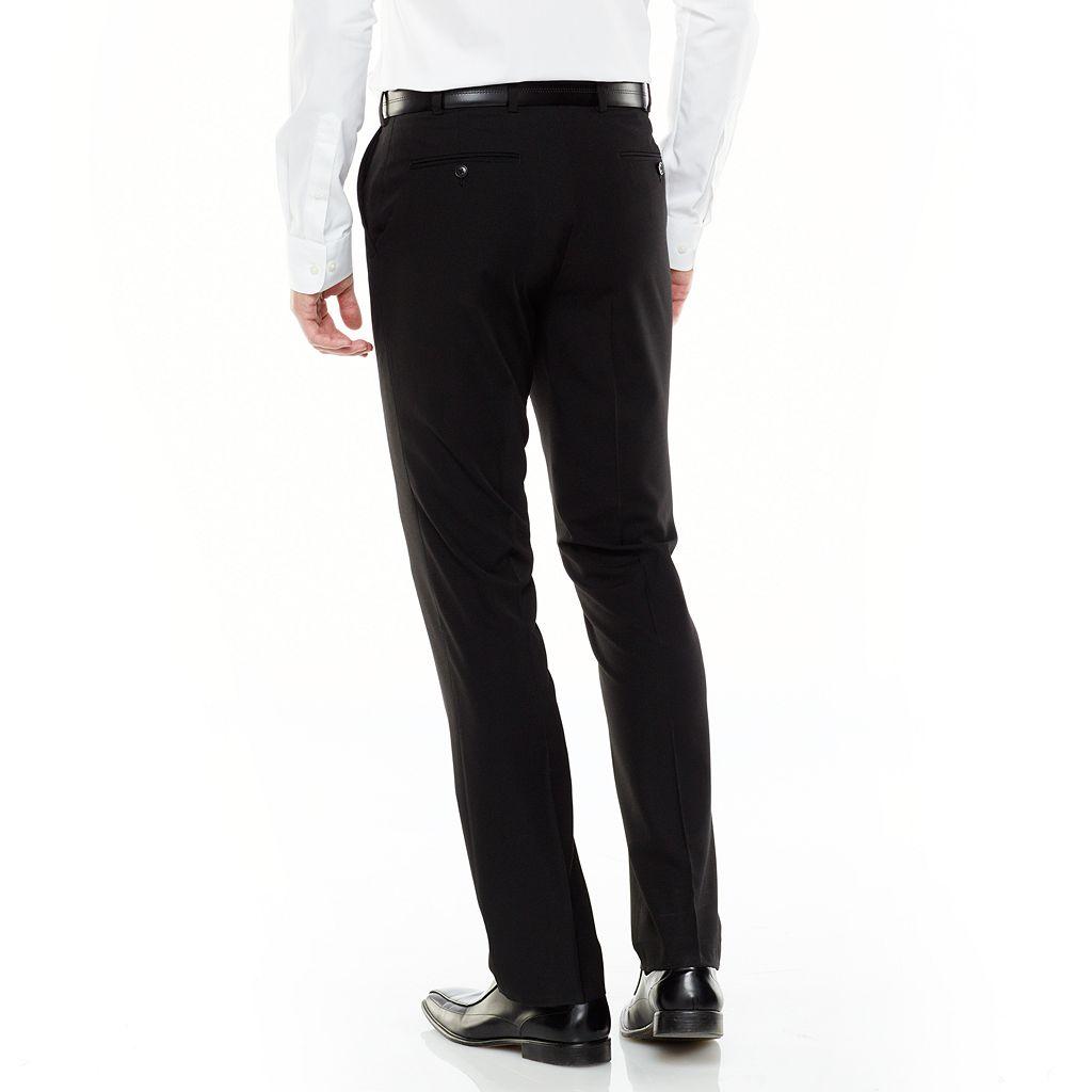 Men's Adolfo Slim-Fit Flat-Front Black Suit Pants