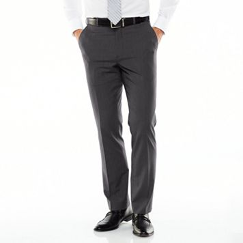Men's Adolfo Slim-Fit Flat-Front Gray Suit Pants