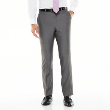 Men's Adolfo Slim-Fit Flat-Front Gray Sharkskin Suit Pants