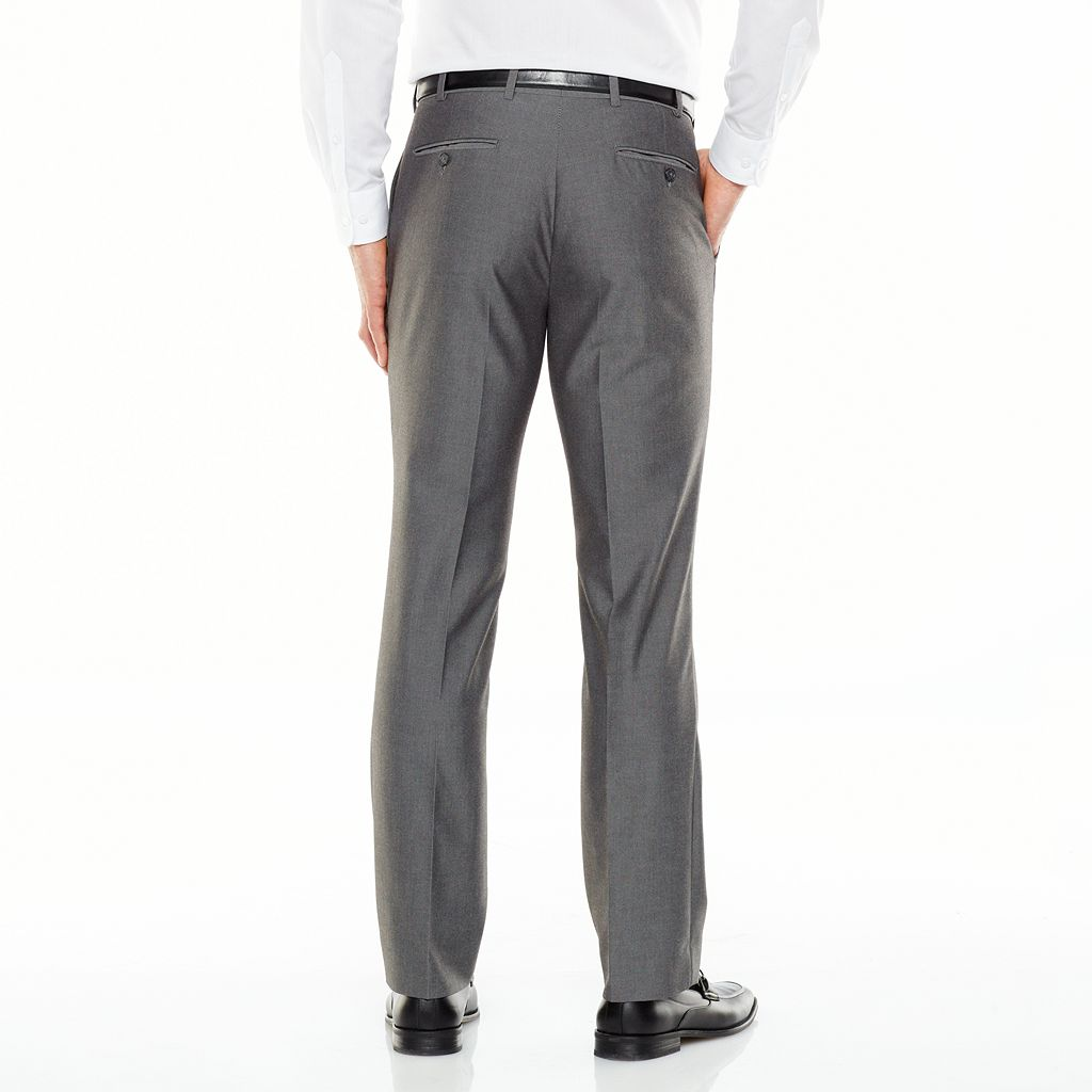 Men's Adolfo Slim-Fit Flat-Front Gray Sharkskin Suit Pants