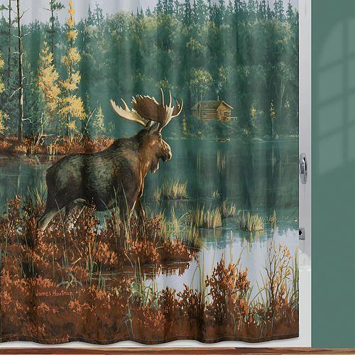 Hautman Brothers Back Bay Moose Fabric Shower Curtain