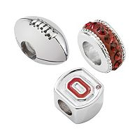 LogoArt Ohio State Buckeyes Sterling Silver Crystal Bead Set