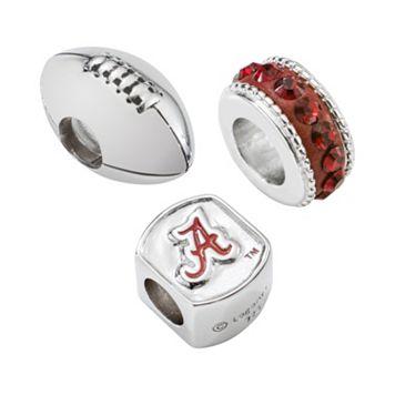 LogoArt Alabama Crimson Tide Sterling Silver Crystal Bead Set