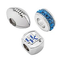 LogoArt Kentucky Wildcats Sterling Silver Crystal Bead Set