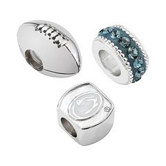 LogoArt Penn State Nittany Lions Sterling Silver Crystal Bead Set
