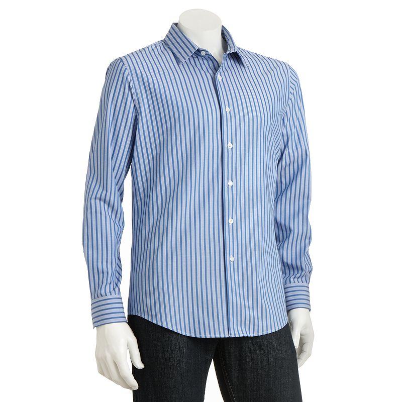 Apt 9 Modern Fit Dobby Striped Casual Button Down Shirt Men