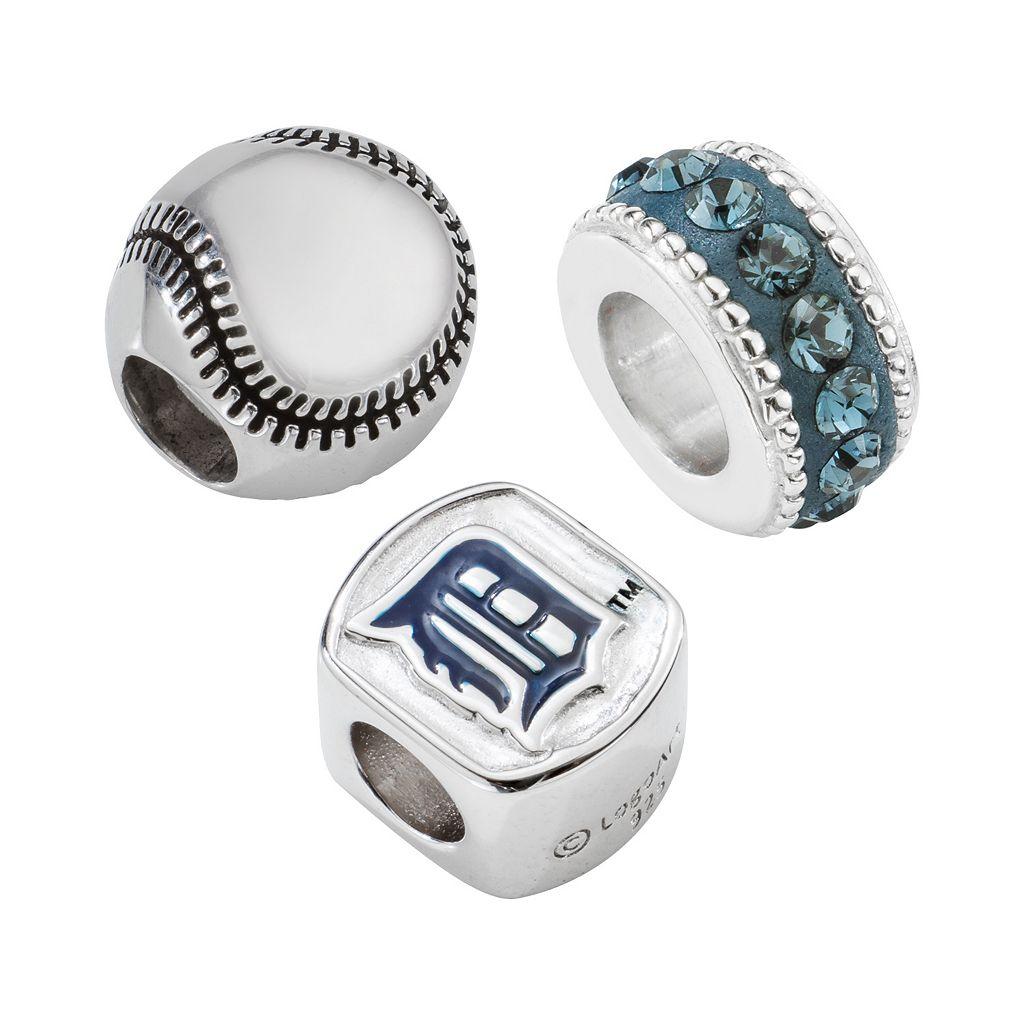 LogoArt Detroit Tigers Sterling Silver Crystal Bead Set
