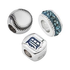 LogoArt Detroit Tigers Sterling Silver Crystal Bead Set