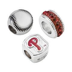 LogoArt Philadelphia Phillies Sterling Silver Crystal Bead Set