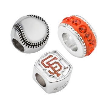 LogoArt San Francisco Giants Sterling Silver Crystal Bead Set