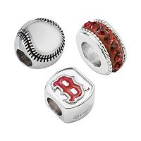 LogoArt Boston Red Sox Sterling Silver Crystal Bead Set