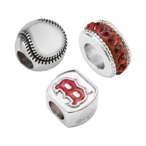 LogoArt Boston Red Sox Sterling Silver Crystal Bead Set