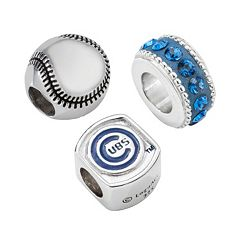 LogoArt Chicago Cubs Sterling Silver Crystal Bead Set