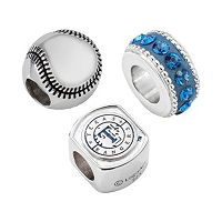 LogoArt Texas Rangers Sterling Silver Crystal Bead Set