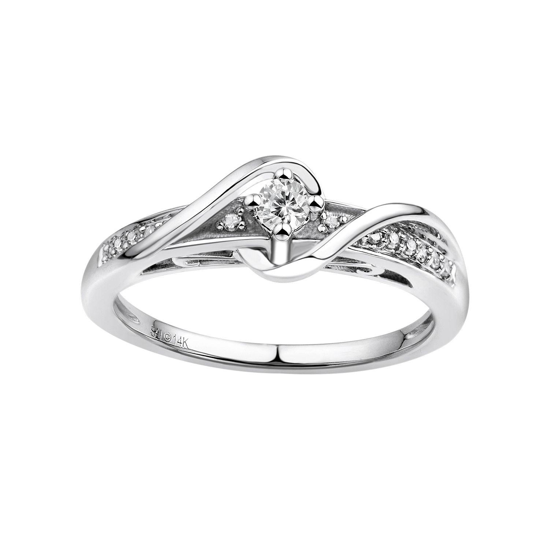 Vera Vera Wang Diamond Wrap Engagement Ring in 14k White Gold 17