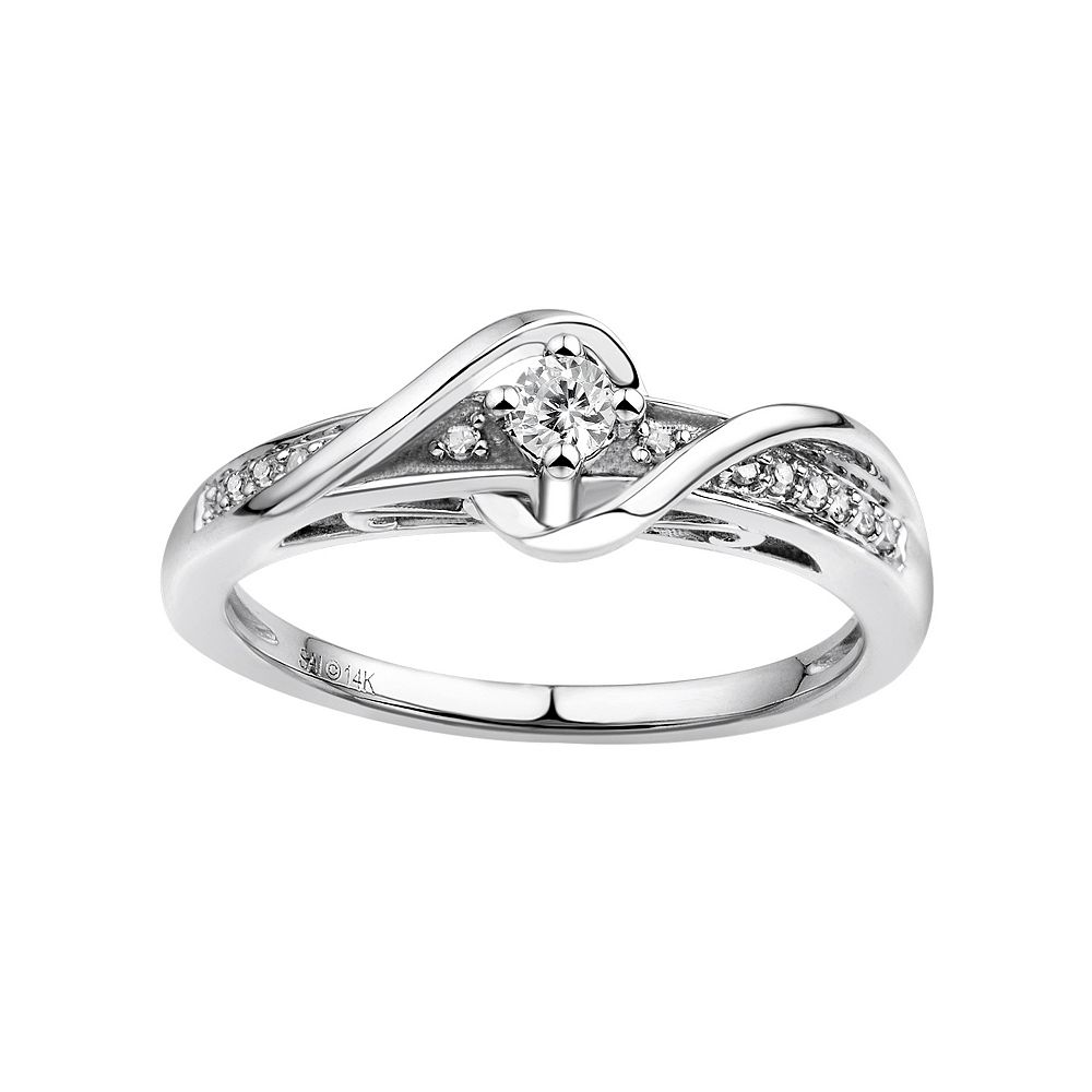 simply vera vera wang diamond wrap engagement ring in 14k white gold 17 ct tw - Vera Wang Wedding Ring