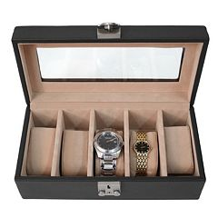 Royce Leather Deluxe 5-Slot Watch Box