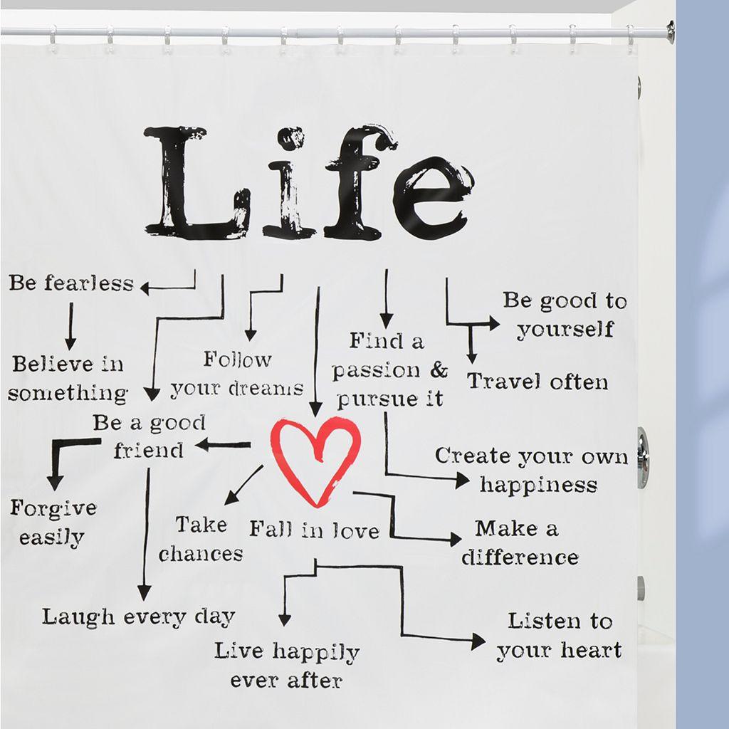 Creative Bath Life Chart PEVA Shower Curtain