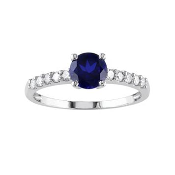 Lab-Created Sapphire & Diamond Engagement Ring in 10k White Gold (.23 ct. T.W.)