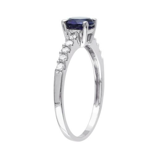 Stella Grace Lab-Created Sapphire and Diamond Engagement Ring in 10k White Gold (.23 ct. T.W.)